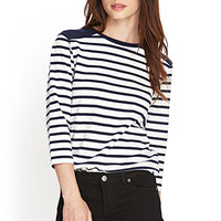 FOREVER 21 Striped Crew Neck Top Cream/Navy
