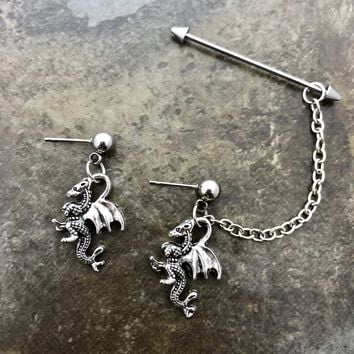 Dragon Industrial barbell, body jewelry, 16 gauge stainless steel