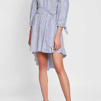 Striped Off-Shoulder Cotton Dress - Caroline Constas | WOMEN | US STYLEBOP.COM