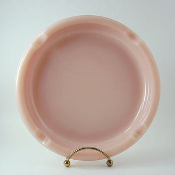 Vintage Rose Pink Milk Glass Cigar Ashtray, Heavy Weight and Large Size, Opalescent Edges, Mid Century Roseite Glass
