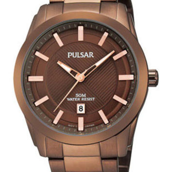 Pulsar Mens Easy Style Watch - Brown Ion Plated Case and Bracelet - Date Display