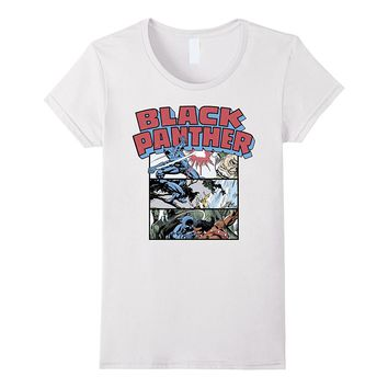 Marvel Black Panther Retro Comic Stacked Panel Art T-Shirt