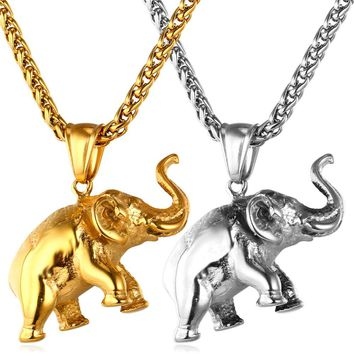 xx U7 Gold Plated Elephant Necklace Men Jewelry Charm Pendant Stainless S