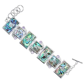 SHIPS FROM USA Natural abalone shell crystal link chain bracelet jewelry mother's day gifts for women mom her wife J002