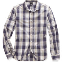 Spread Collar in Navy Medium Plaid
