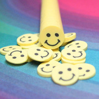Polymer Clay Cane Smiley Face for nail art miniature sweets decoden crafts embellishment retro sixties happy face kawaii decoration