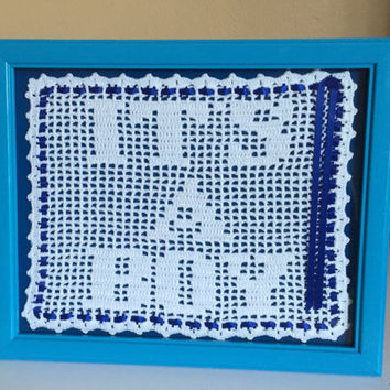 Baby Shower Gift, Unique Baby Shower Gift, Gift for Mom's Baby Shower, Crochet It's A Boy, Nursery Gift.
