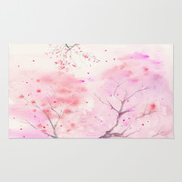 Cherry Blossom, Abstract, Art Watercolor Painting by Suisai Genki Area & Throw Rug by SuisaiGenki | Society6
