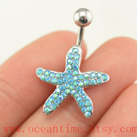 starfish Belly Button jewelry, blue diamond belly button ring,starfish Navel Jewelry,pearl bellyring friendship belly button jewelry