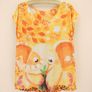 Short Sleeved T-shirt Fashion Ladies 3d Yellow Elephant Digital Printing sexy women t shirts YK117