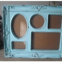 Shabby Cottage Aqua blue Frame  5 frames in 1  by MamaLisasCottage