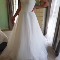 Sleeveless White/Ivory Spring Wedding Dress Lace Bodice Bridal Dress