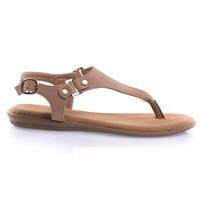 Tundra40S Natural Nubuck by Bamboo Comfortable Foam Padded Flat Thong Sandal Triangle Upper, Ankle Buckle