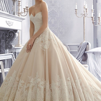 Mori Lee 2674 Strapless Lace Ball Gown Wedding Dress