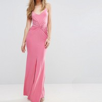 Club L Cami Maxi Dress with Knot Front at asos.com