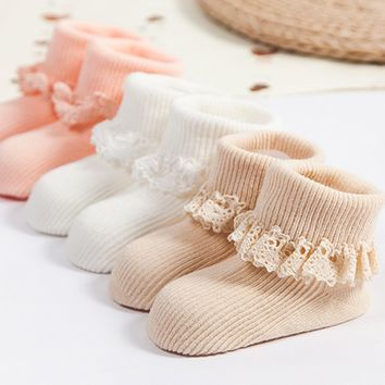 Lace Flower Baby Socks Solid Color Girls Princess Cotton Anti Slip Soft Socks For New Born Baby Infant 0-4 Years