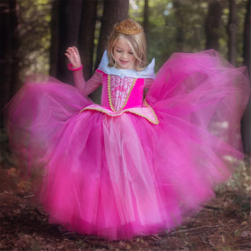 Girl Dress 2017 Fashion Sleeping Beauty Aurora Princess for Kids Girls Party Dresses Pink Blue Girls Party Gown Cosplay Costume