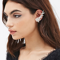 FOREVER 21 Rhinestoned Petal Earcuff White/Gold One