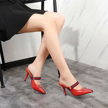 New Arrivals LV Louis Vuitton Women Trending Leather red High Heel dress Shoes Best Quality