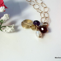 Gemstone & Pearl Cluster Gold Chain Necklace