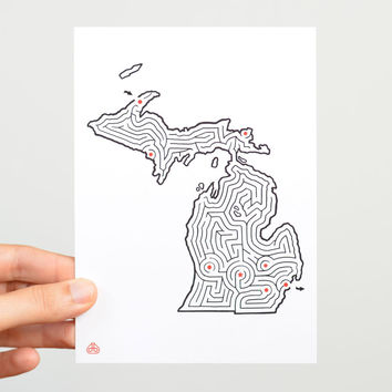 "Michigan Maze 5x7"" Postcard"