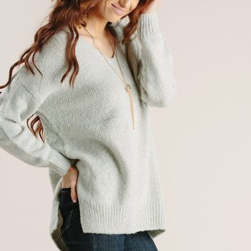 Marie Grey Knit Pullover Sweater