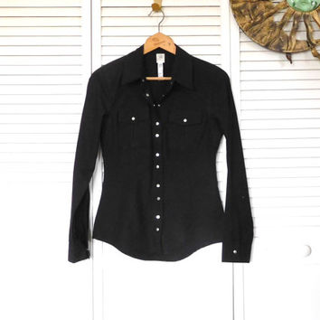 Black Fitted Shirt Silver Snap Buttons Country Western Cowgirl Glam Size Medium Vintage Clothing