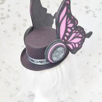 CLEARANCE SALE Magnet Singer Duo Artist Idol Cosplay  Large Black Top Hat with Pink Butterfly Wing Wings Headphones