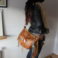 Crossbody rusted brown / orange fringed  leather raw edges bag tribal turquoise large african fringe festival gypsy bohemian peoplenative