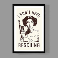 Star Wars: Princess Leia Poster Print - I don't need rescuing - Quote, Fun, Funny, Classic, Movie, Memorabilia
