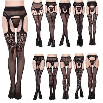 Sexy lingerie lace transparent harness net  black sexy free off with waist net stockings non - slip garter Fishnet Tights