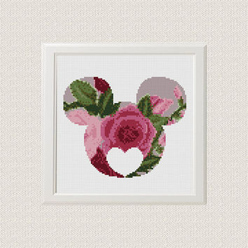 Mickey Minnie Cross Stitch Pattern, Floral Mickey Minnie Silhouette Flowers Disney Counted Cross Stitch Chart Modern Decor, Download PDF