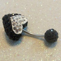 Heart bellybutton ring, naval ring black and clear crystal hearts 16ga