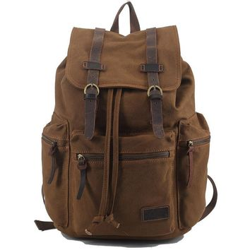 Vintage Retro Canvas Backpack Travel Casual Leather Bags for both Women and Men Bookbag for Teen Girls and Boys