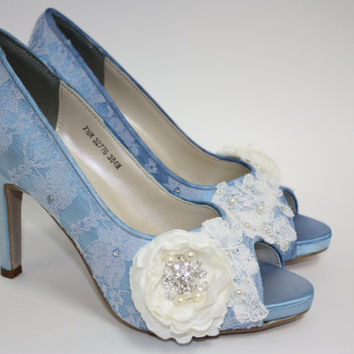 Wedding Shoes - Lace Shoes - Blue Lace Shoes - Handmade Flower - Crystals - Handmade Wedding - Platform - Choose Over 100 Colors - Parisxox