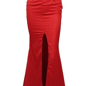 Jacqueline Strapless Bustier Maxi Dress - Red