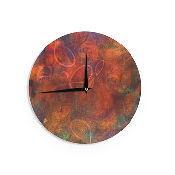 "Nikki Strange ""Tie Dye Paisley"" Orange Red Wall Clock"