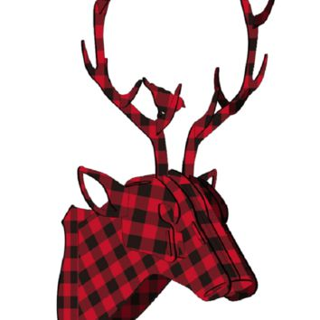 Plaid Deer Puzzle Plaque