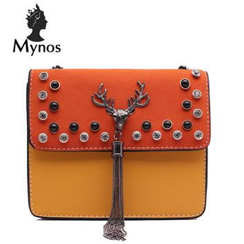 MYNOS Fashion Patchwork Rivet Women Bag Deer Head Brand Designer Leather Tassel Crossbody Bag For Women SAC A MAIN Femme Bolsa