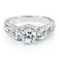 Lab-Created White Sapphire Ring in Sterling Silver - Sapphire Esente - Collections - Categories - Helzberg Diamonds