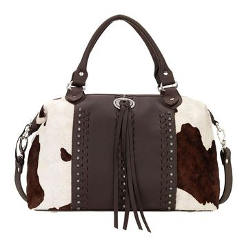 American West Cow Town Large Zip-Top Chocolate Brown Convertible Satchel 4150227