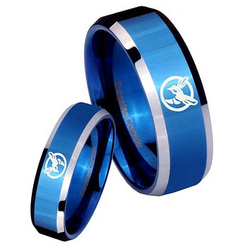 His and Hers Honey Bee Beveled Edges Edges Blue 2 Tone Tungsten Men's Ring Set
