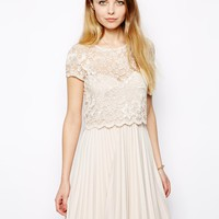 ASOS Lace Top Pleat Mini Dress