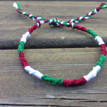 Made to order - Christmas bracelet - perfect for gifts - red, white and green spiral - friendship bracelet