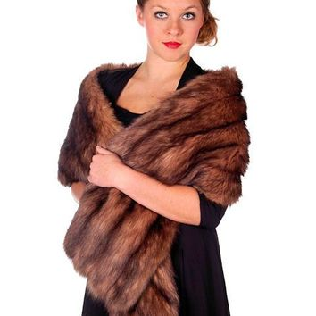 "Vintage Stole 70"" Long Dark Brown Badger Fur  Mendessolle 30S"