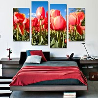 4 PCS Modern Red  Plant Flower Tulips Photo Canvas No Frame F1791