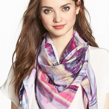 Women's Echo Marbled Print Silk Square Scarf