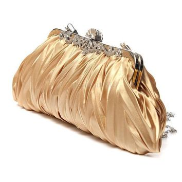 CREYON5U Fashion Lady Party Wedding Handbag Purse Girl Soft Evening Bag Bridal Women Satin Crystal Clutch