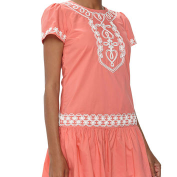 Looped Floral Trim Drop-Waist Dress, Conely Pink - Love Moschino