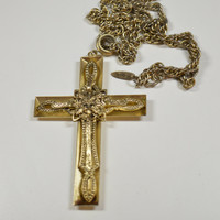 Whiting Davis Vintage Cross Crucifix Necklace Goldtone Multi-Dimensional Ornate Design Signed Whiting Davis Jewelry Religious Design
